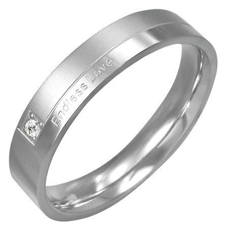 Кольцо стальное с цирконом