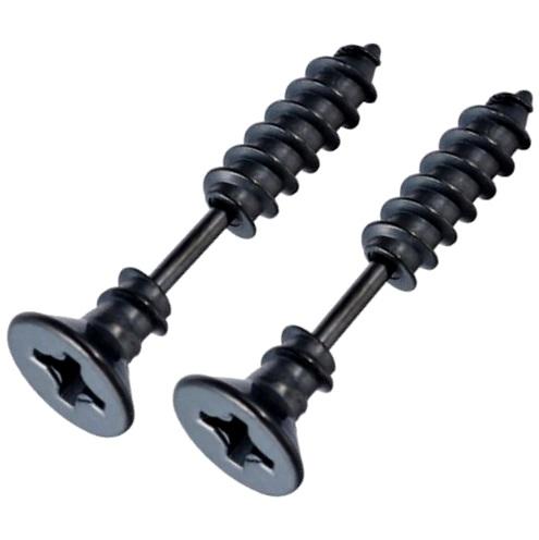 Серьги-шурупы черные